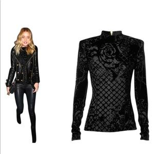 Balmain x H&M Black Velvet Blouse